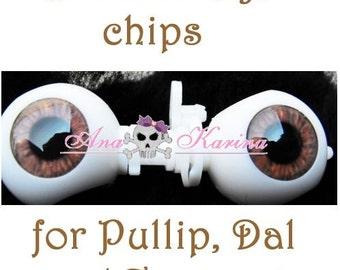 Pullip eye chips OOAK REALISTIC custom Pullip, Dal, Taeyang eye chips set F13, by Ana Karina. UV laminated