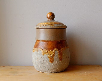 Organic Ceramic Grey and Honey Gold Yukon Sugar or Coffee Container with Unique Glaze and Firing Texture.
