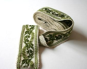 Green Vintage Upholstery Ribbon Trim Floral Raised Chenille Design