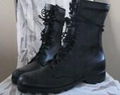 Vintage military combat boots black leather laceup size 7 men 8 1/2 women