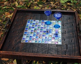 "Ottoman Tray. Mosaic Serving Tray. Coffee Table Tray. Irridescent Tile Tray.  ""Oceans on Fire"" Mosaic. 24 x 24.Dark Brown Finish"