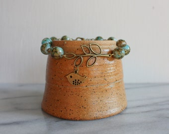 Little Birdie Bracelet, Antique Bronze, Inspirational, Beaded Bracelet, Gift for Her, By ktnunna