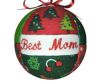 Best Mom Christmas Holiday Ornament Christmas Tree Decor Personalized Ornament Christmas Fabric Ornament  ReadyTo Ship by CraftCrazy4U