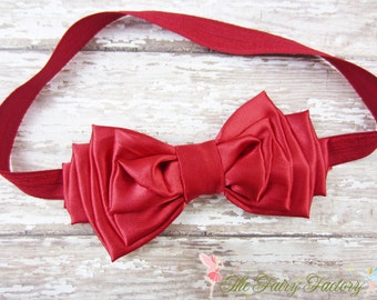 Red Hair Bow, Classic Red Satin Hair Bow Stretchy Headband or Hair Clip, Large Satin Bow, Baby Child Girls Headband