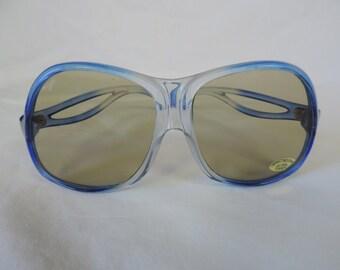 1970s blue sunglasses vintage boho sunglasses oversize glasses retro eyewear new old stock