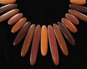 Amazing Wood Fringe Bib Tribal Necklace, Elongated Oval Wood Beads