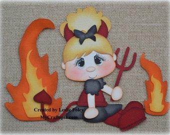 Devil Girl Premade Halloween Scrapbooking Embellishment Paper Piecing set