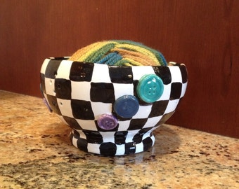 Ceramic clay Black and White checkered Yarn Bowl with Buttons for knitting and crocheting