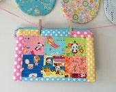 kawaii patchwork print zipper pouch - colors/pandas