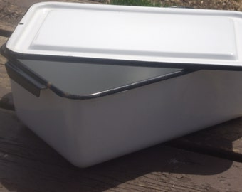 Retro Enamelware Large Refrigerator Drawer Box with Lid
