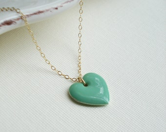 Heart Necklace In Gold Filled, Modern Everyday Jewelry, Mint Green Gold Necklace, Gift For Her Inder 25
