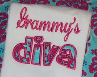 Grandma's Diva- can change to any name,  tshirt or ruffle dress- you pick fabric