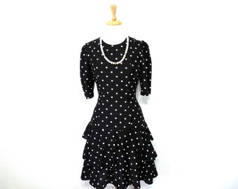 70s Polka Dot Dress Black Selly Lou Tiered Ruffled Party Dress