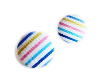 Button Earrings / Button Clip On Earrings - seaside stripes earrings