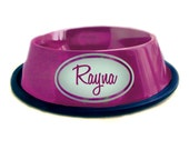 Oval - Ruby - Personalized Stainless Steel Dog Bowl - Metallic Magenta