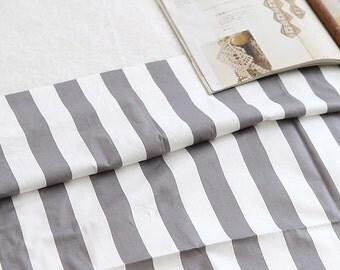 Neat Gray Strip on Ivory Twill Cotton Wide 160cm, U129