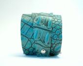 SALE - clearance - turquoise alligator cuff bracelet - adjustable cuff bracelet - wrap style cuff bracelet