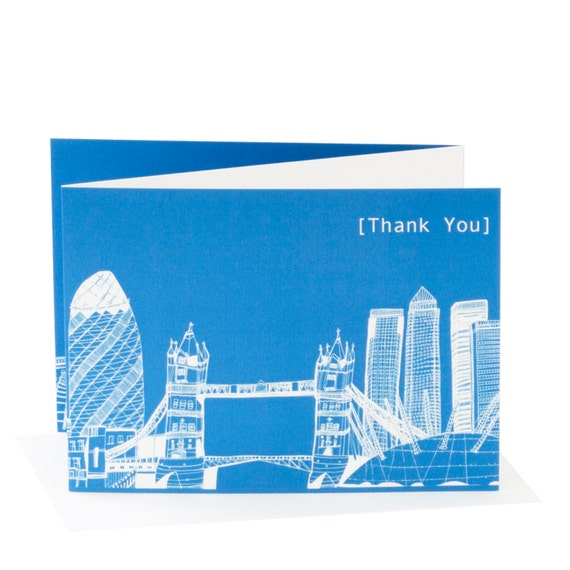London Skyline, Blue Thank You Card