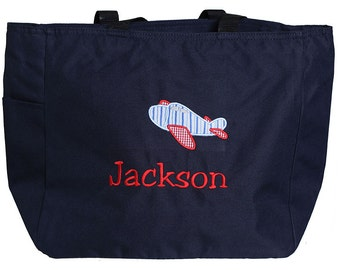 Airplane Tote Bag, Girls or Boys, Custom Colors, Monogrammed,  Personalized, Perfect for Swimming Lessons