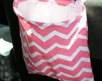 Pink Coral and white chevron Car Trash Bag Reusable Auto Garbage or Storage