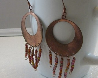 Copper Earrings with Dangling Glass Beads