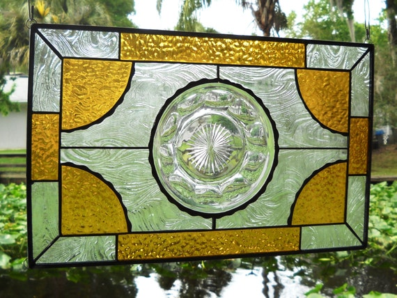 1930s Heisey Depression Glass Stained Glass Panel Vintage Window Transom