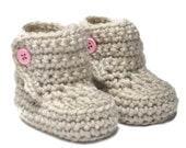 Baby Booties with Button Top size 0 to 6 months