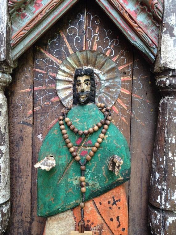 Spanish Colonial Folk Art Retablo Bulto Altar Nicho Niche Screen Milagro Santo Saint Icon