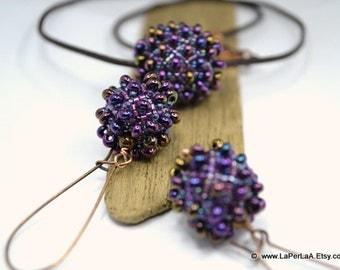 Large beaded bead pendant - SEAURCHIN - faux lampwork -  purple