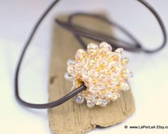 Large beaded bead pendant - SEAURCHIN - faux lampwork - champagne creamy gold