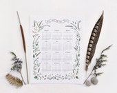 SALE ! - 2014 Botanical Calendar - illustration by Dara Muscat. White card stock. Wall calendar. 1 Page. Home office. 8.5 x 11