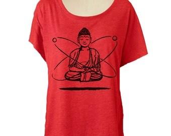 Womens BUDDHA YOGA T shirt - Dolman sleeve slouchy off the shoulder shirt (Many color choices) sm, med, lg, xl, xxl skip n whistle