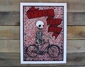 SALE Ride or Die Screen Printed poster RED