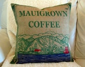 Burlap Pillow. Recycled Maui USA Coffee Bag. 18x18 Pillow Cover. Handmade in Hawaii.