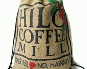 Burlap Drawstring Backpack. Repurposed Coffee Bag. Handmade in Hawaii.