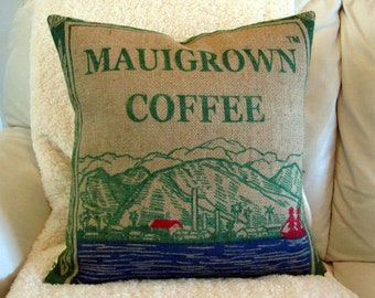 MTO.  Custom. Maui Burlap Pillow Cover. Recycled Mauigrown Coffee Sack. 18x18 Pillow Cover. Handmade in Hawaii.