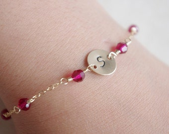 Personalized Hand Stamped Initial Disc Birthstone Swarovski Bracelet July Birthstone Dainty Jewelry, Gifts for Teen Girls, Gifts For Her