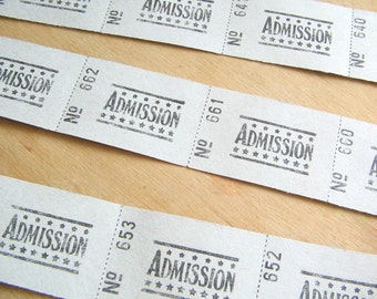Admission Tickets - Continuous Strip - 30 Tickets - Paper Tickets - Strip of Tickets - Paper Goods - Old Paper Tickets