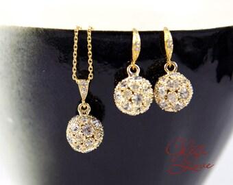 Brittany - Sparkle Rhinestone Earrings, Vintage Bridal Earrings, Fireballs Earrings, Bridal Jewelry, Weddings, Bridesmaid, Gold