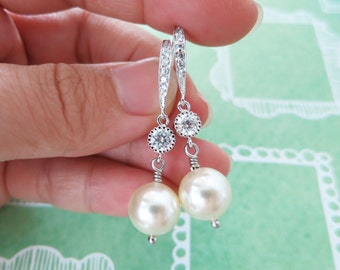 Paige - Swarovski Pearl Drop Earrings, Cubic zirconia earrings, gifts for her, Bridesmaid Earrings, Bridal Jewelry, white weddings, sparkly