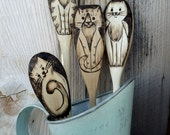 Wood burned Cat spoons