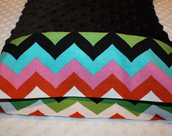 "Chevron Pillowcase w Black Minky- Minky Pillowcase for 12""x16"" Pillow - Multi-Colored Toddler Pillowcase- Chevron Minky Pillowcase- Nap Mat"