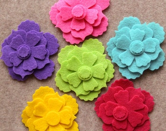 Summer of Love - Begonias - 18 Die Cut Felt Flowers