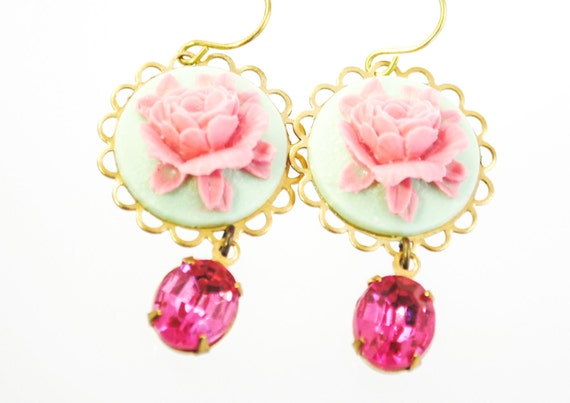 SALE - Cameo Earrings in Pink and Mint with Vintage Pink Jewels - Romantic Rose