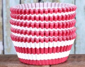 Red Striped Cupcake Liners, Christmas Cupcake Liners, Red Cupcake Wrappers, Cupcake Cases, Stay Bright Greaseproof Cupcake Liners (50)