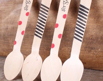 """Wooden Spoons, Pirate Party Stamped Spoons, Wooden Ice Cream Spoons, Wooden Utensils, Dessert Jar Spoons (5.5"""" -18 ct) Ready to Ship"""