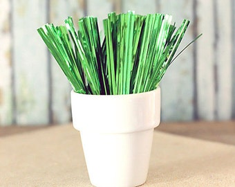 Metallic Green Twist Ties, Christmas Twist Ties, Candy Buffet Twist Ties, Favor Bag Twist Ties, Bag Closures, St. Patrick's Day Twist Ties