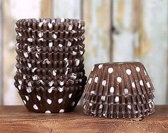 Mini Brown Polka Dot Cupcake Liners, Brown Candy Cups, Mini Brown Treat Cups, Dark Brown Cake Pop Cup, Mini Brown Wedding Liners (100)