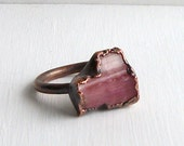 Raw Tourmaline Crystal Ring Size 6 Gemstone Ring Cocktail Ring Magenta Berry Pink Copper Gem Artisan Raw Organic