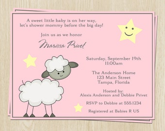 Little Lamb Baby Shower Invitations, Baby Girl, Set of 10 Printed Pink and Gray Invites and Envelopes, FREE Shipping, LMBPK, Little Lamb